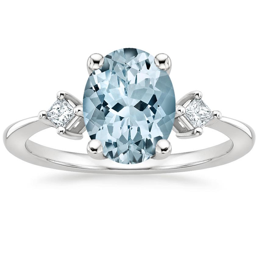 Aquamarine Tria Diamond Ring in Platinum