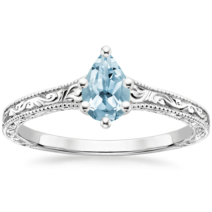 Aquamarine Hudson Ring in 18K White Gold