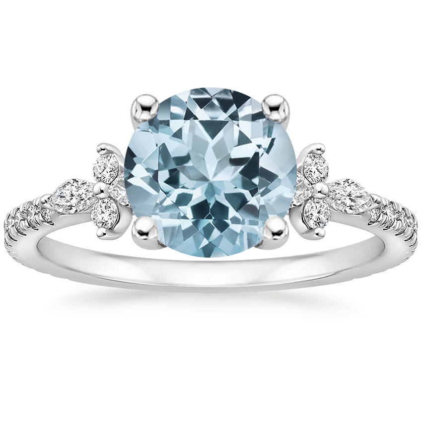 Aquamarine Iris Diamond Ring (1/3 ct. tw.) in 18K White Gold