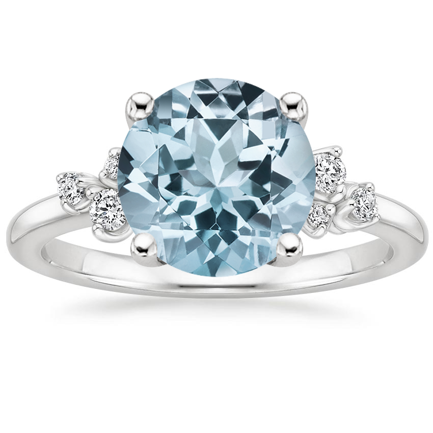Aquamarine Mia Diamond Ring in 18K White Gold