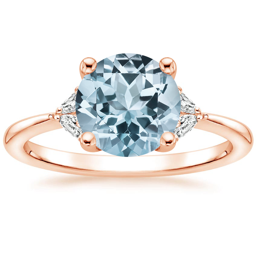 Rose Gold Aquamarine Faye Diamond Ring