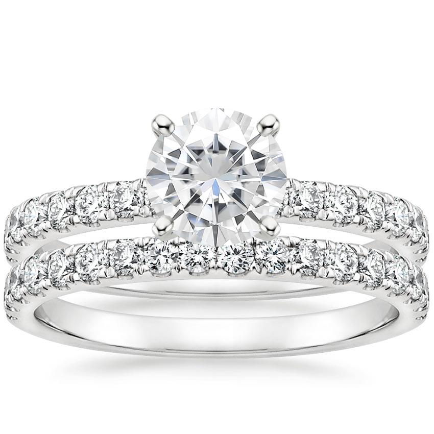 PT Moissanite Constance Diamond Bridal Set, top view