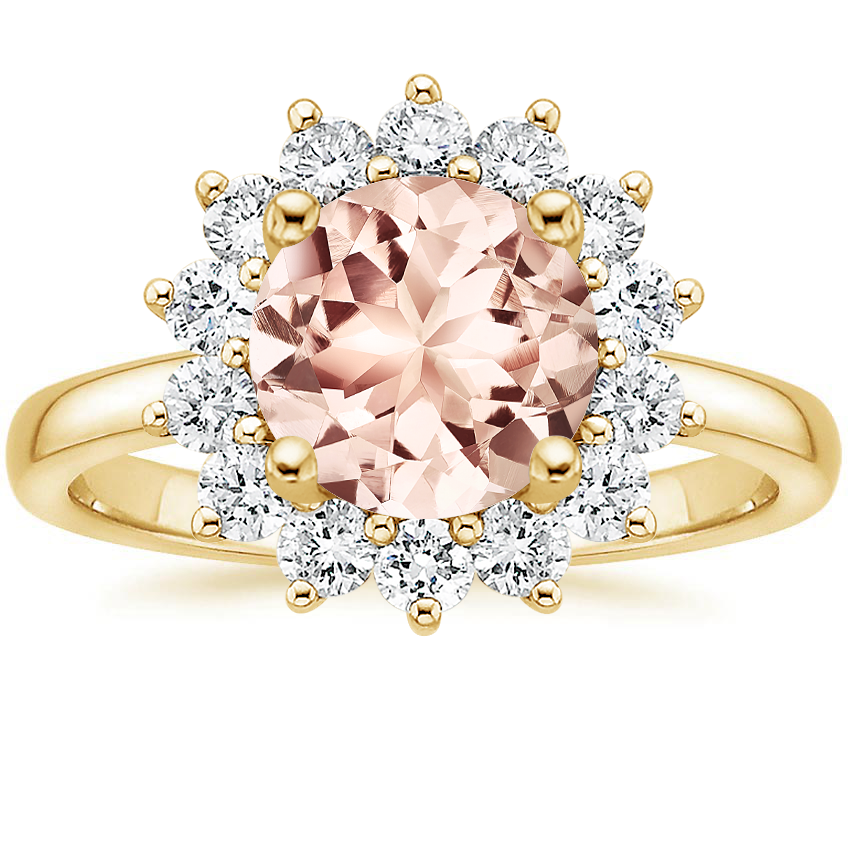 Yellow Gold Morganite Sunburst Diamond Ring (1/4 ct. tw.)