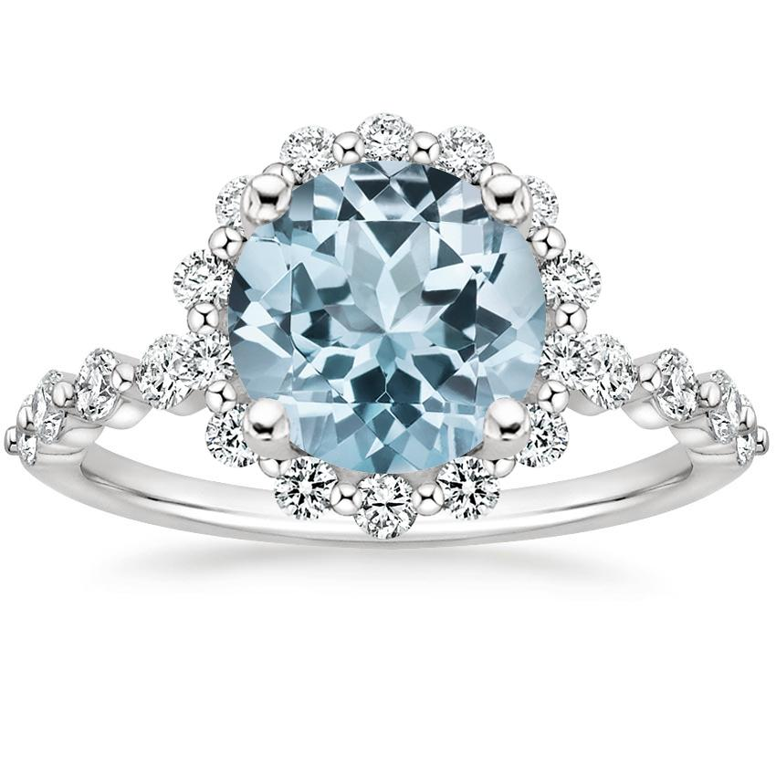 Aquamarine Marseille Halo Diamond Ring (1/2 ct. tw.) in 18K White Gold