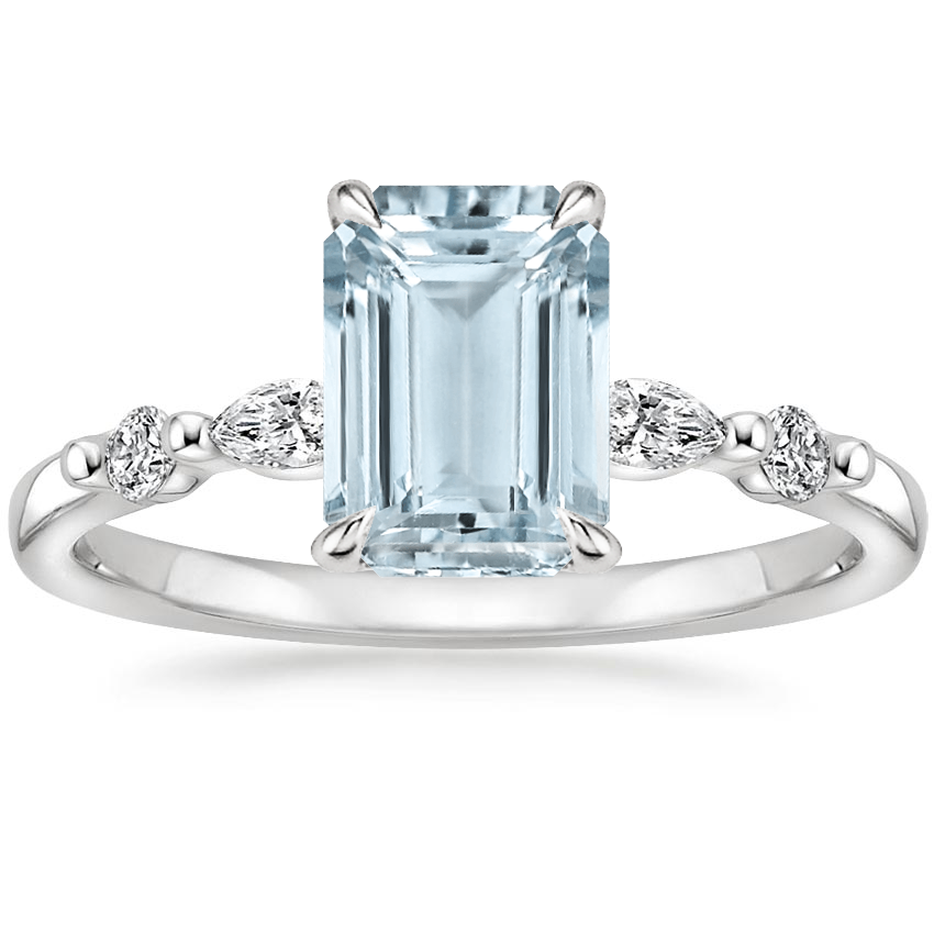 Aquamarine Petite Versailles Diamond Ring (1/6 ct. tw.) in Platinum