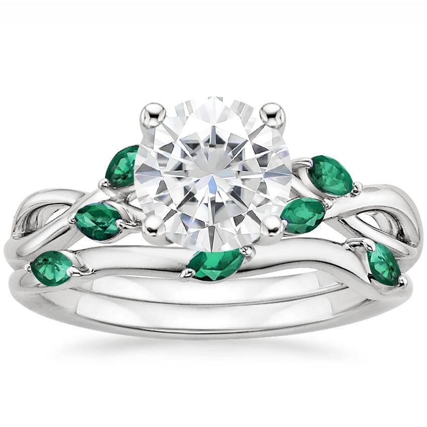18KW Moissanite Willow Bridal Set With Lab Emerald Accents, top view