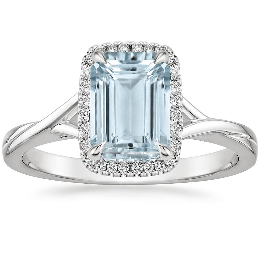Aquamarine Serendipity Diamond Ring in 18K White Gold