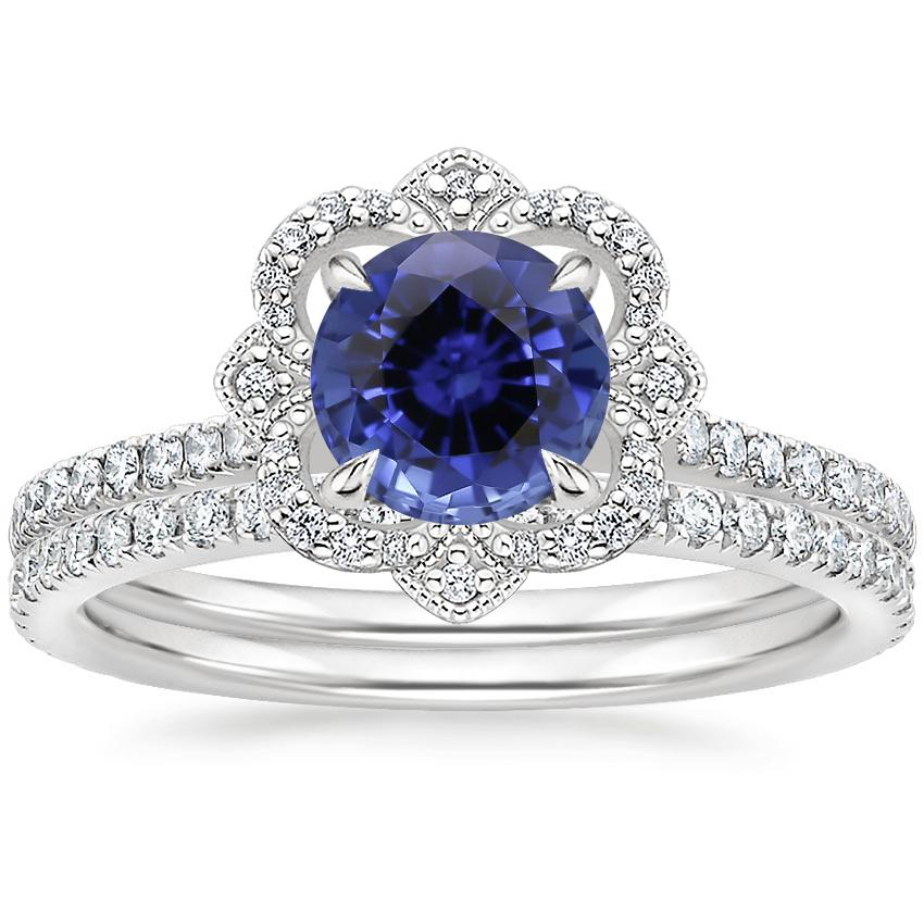 18KW Sapphire Reina Diamond Ring with Luxe Ballad Diamond Ring (1/4 ct. tw.), top view