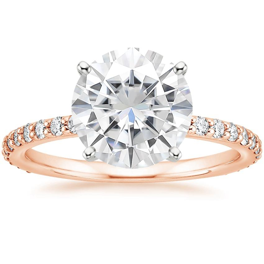 Rose Gold Moissanite Luxe Petite Shared Prong Diamond Ring (1/3 ct. tw.)