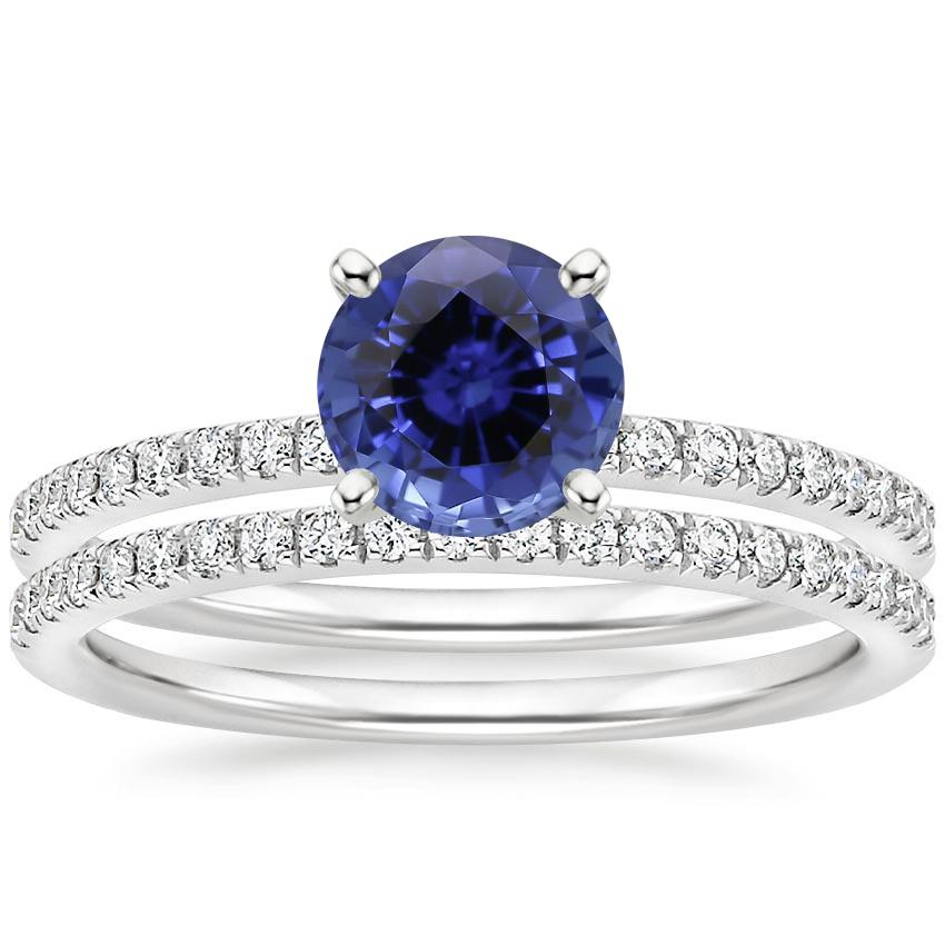 18KW Sapphire Ballad Diamond Bridal Set (1/3 ct. tw.), top view