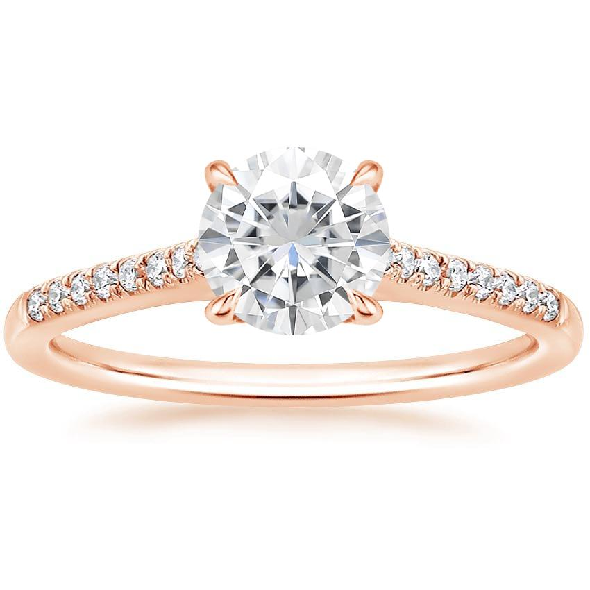 Rose Gold Moissanite Lissome Diamond Ring (1/10 ct. tw.)