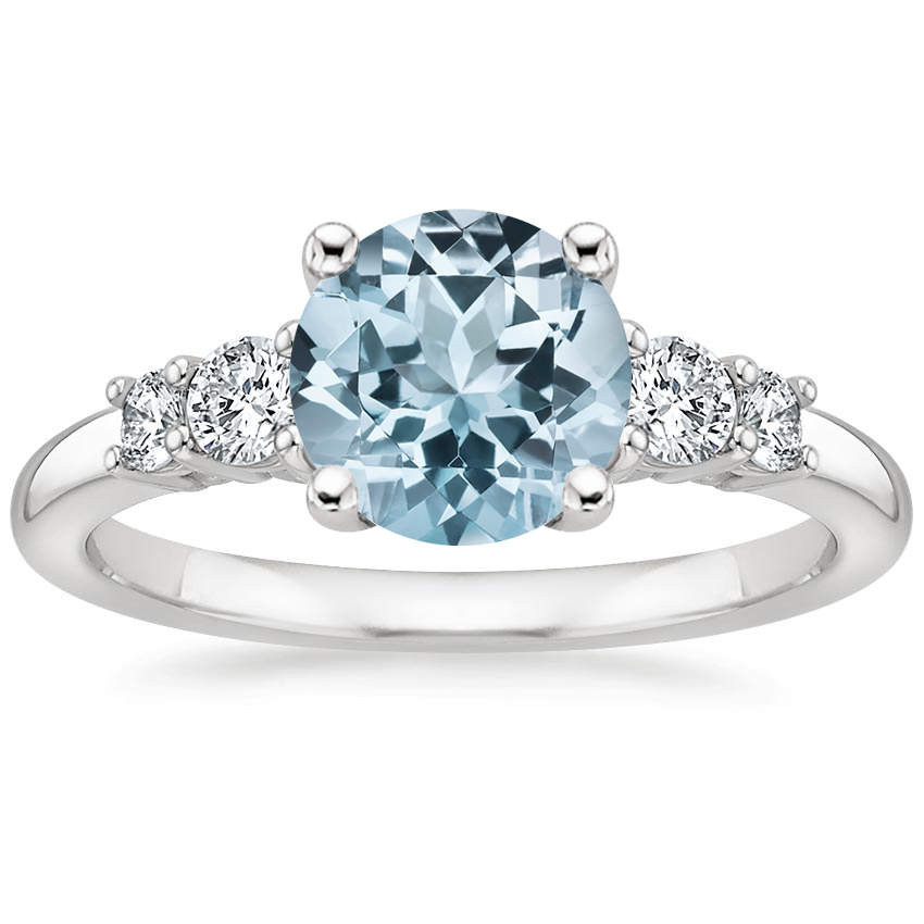 Aquamarine Rialto Diamond Ring (1/4 ct. tw.) in 18K White Gold