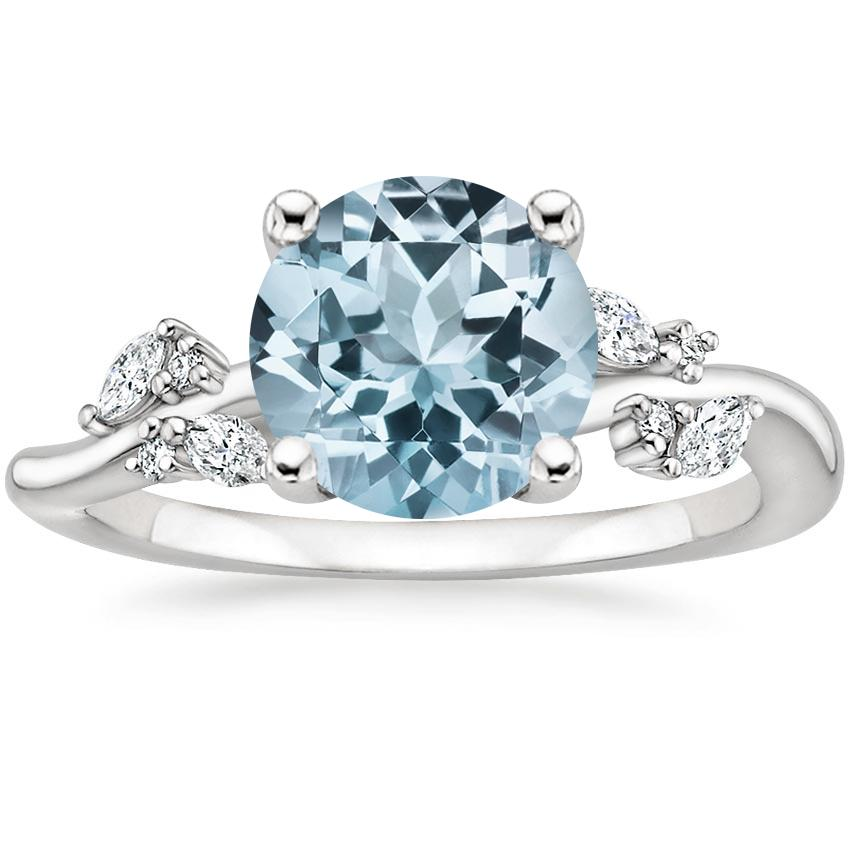 Aquamarine Arden Diamond Ring in 18K White Gold