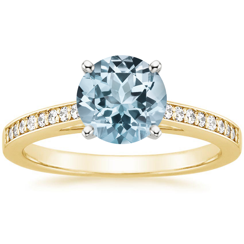 Yellow Gold Aquamarine Starlight Diamond Ring