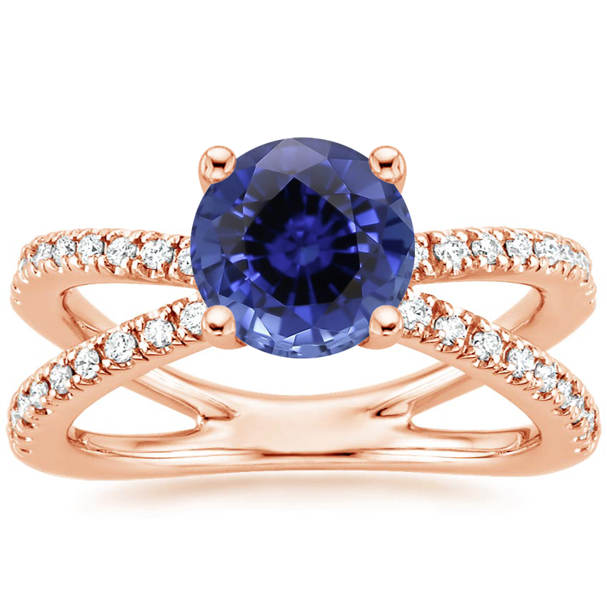 Rose Gold Sapphire Bisou Diamond Ring (1/3 ct. tw.)