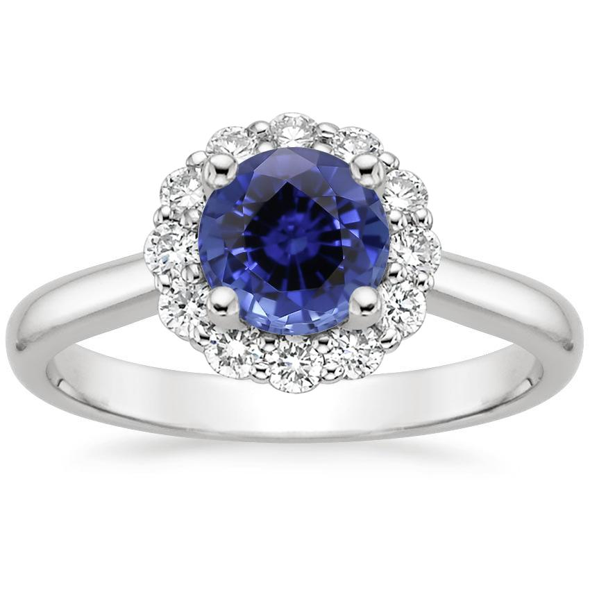 Sapphire Lotus Flower Diamond Ring (1/4 ct. tw.) in Platinum