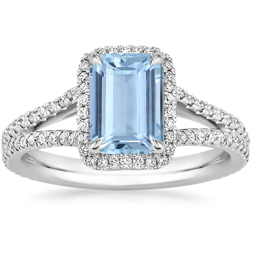 Aquamarine Fortuna Diamond Ring (1/2 ct. tw.) in Platinum