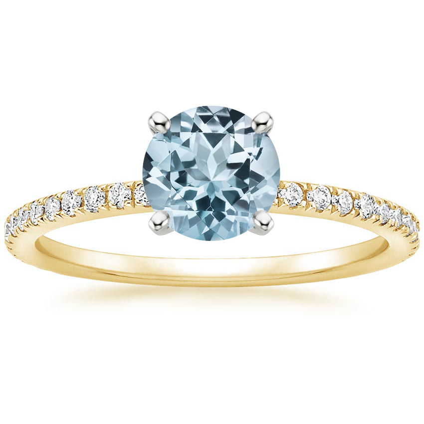 Yellow Gold Aquamarine Luxe Ballad Diamond Ring (1/4 ct. tw.)