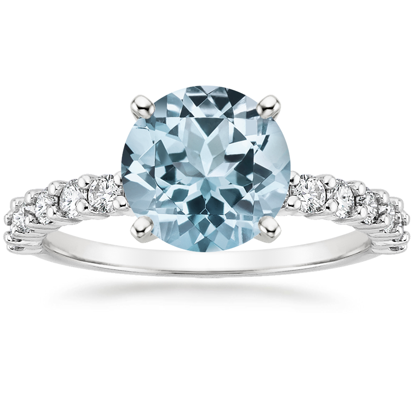 Aquamarine Shared Prong Diamond Ring (3/8 ct. tw.) in 18K White Gold