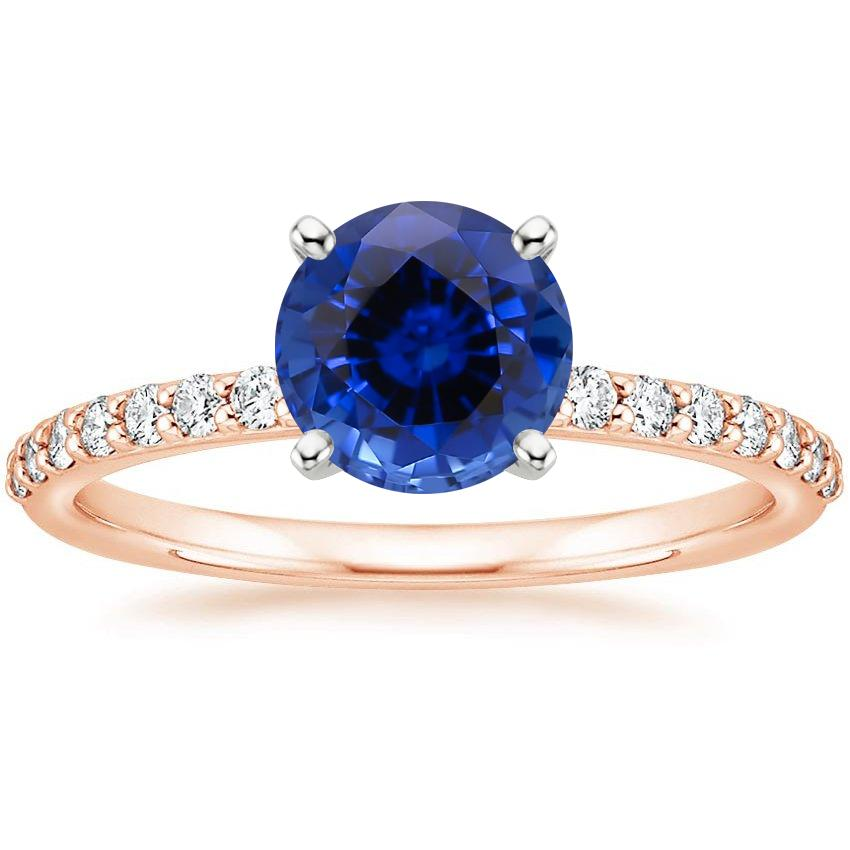 Rose Gold Sapphire Petite Shared Prong Diamond Ring (1/4 ct. tw.)