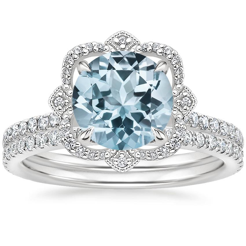 18KW Aquamarine Reina Diamond Ring (1/6 ct. tw.) with Luxe Ballad Diamond Ring (1/4 ct. tw.), top view