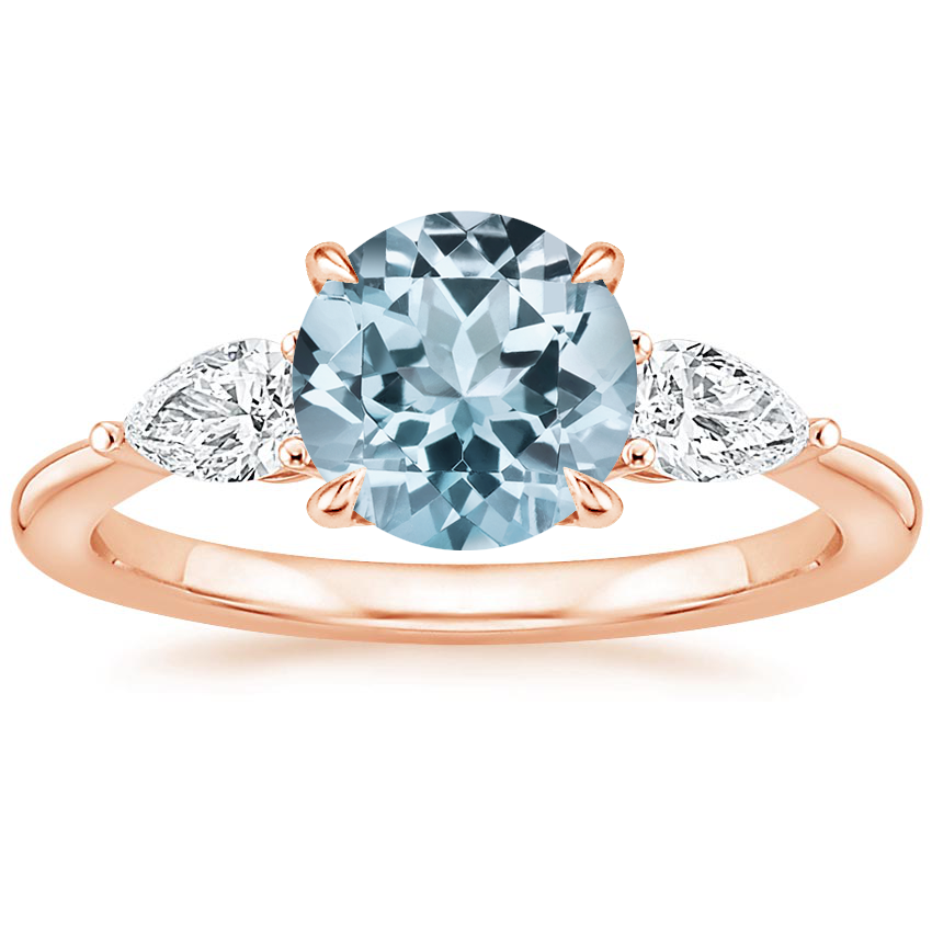 Rose Gold Aquamarine Opera Diamond Ring
