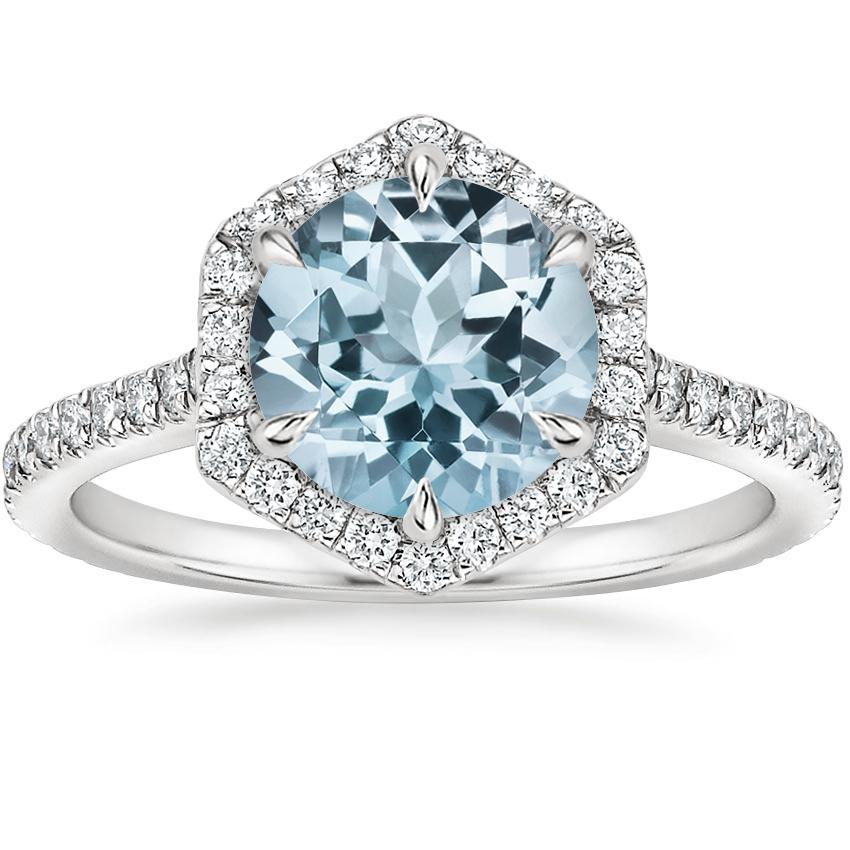 Aquamarine Sonnet Diamond Ring (1/3 ct. tw.) in 18K White Gold