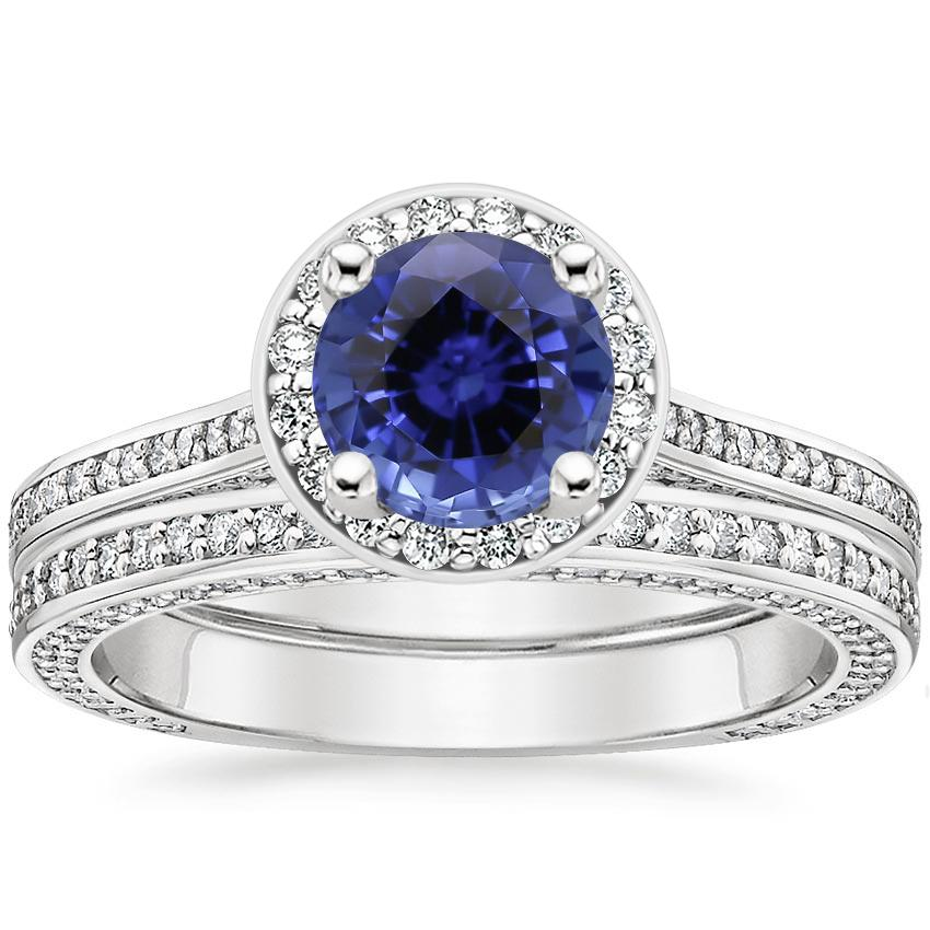 18KW Sapphire Enchant Halo Bridal Set (1 ct. tw.), top view