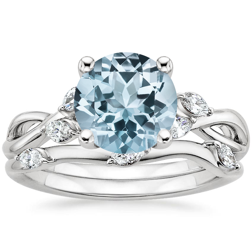 PT Aquamarine Willow Bridal Set (1/4 ct. tw.), top view