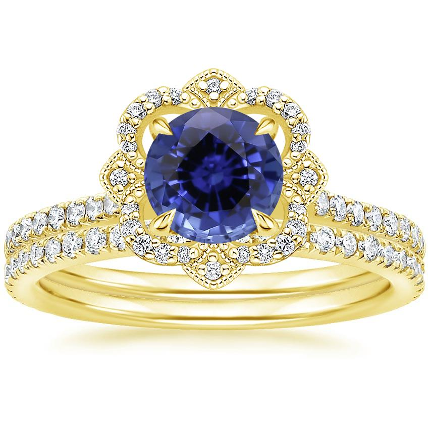 18KY Sapphire Reina Diamond Ring (1/6 ct. tw.) with Luxe Ballad Diamond Ring (1/4 ct. tw.), top view