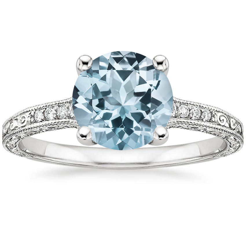 Aquamarine Luxe Hudson Diamond Ring in Platinum