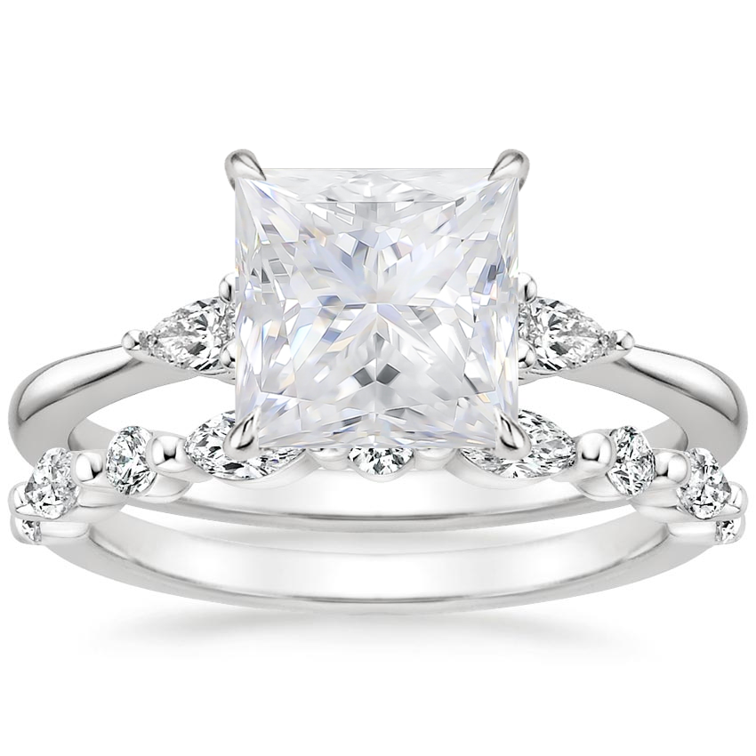 18KW Moissanite Aria Diamond Ring (1/10 ct. tw.) with Versailles Diamond Ring (3/8 ct. tw.), top view