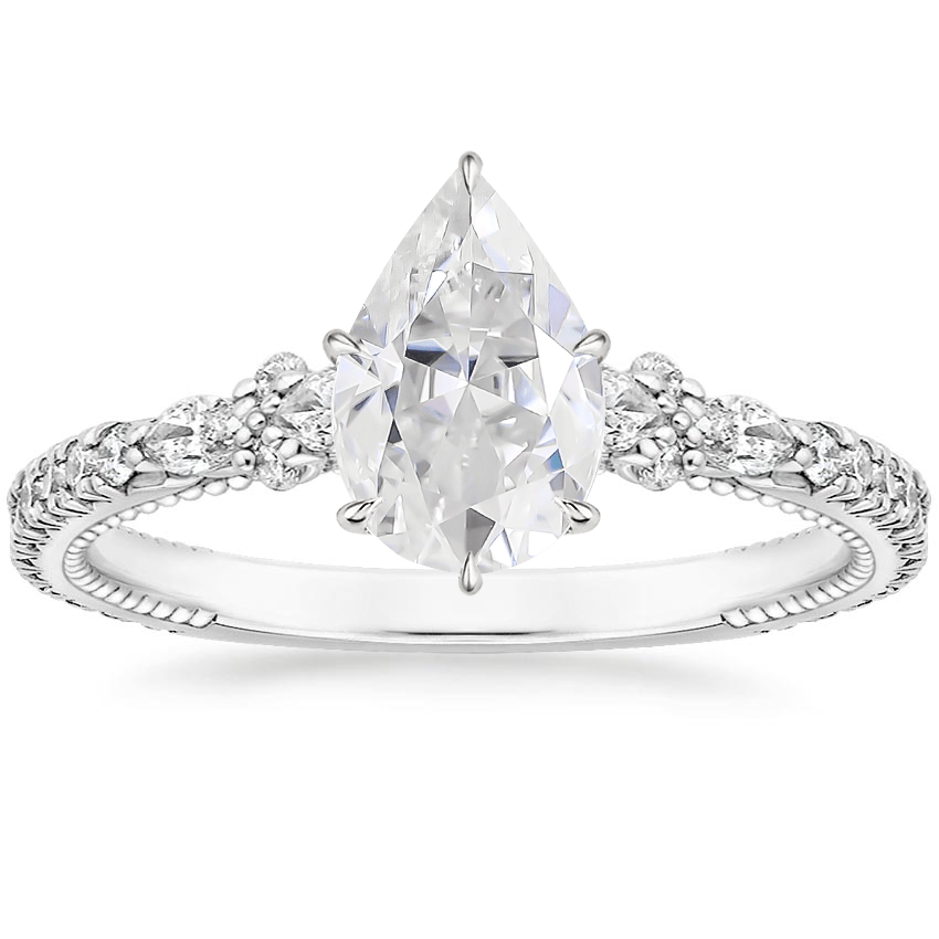 Moissanite Primrose Diamond Ring in 18K White Gold