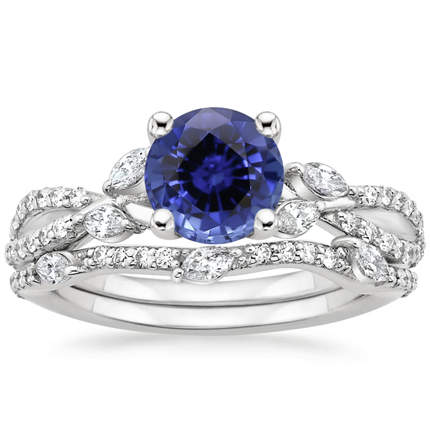 18KW Sapphire Luxe Willow Bridal Set (1/2 ct. tw.), top view
