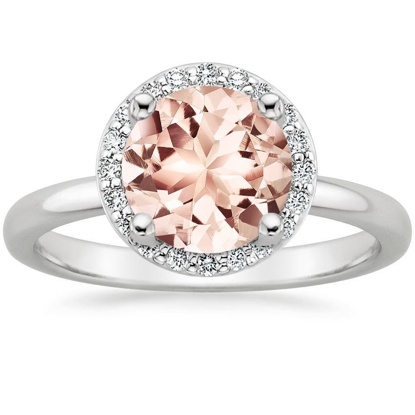 d47f7b86721c4 18K White Gold Morganite Halo Diamond Ring (1/6 ct. tw.)
