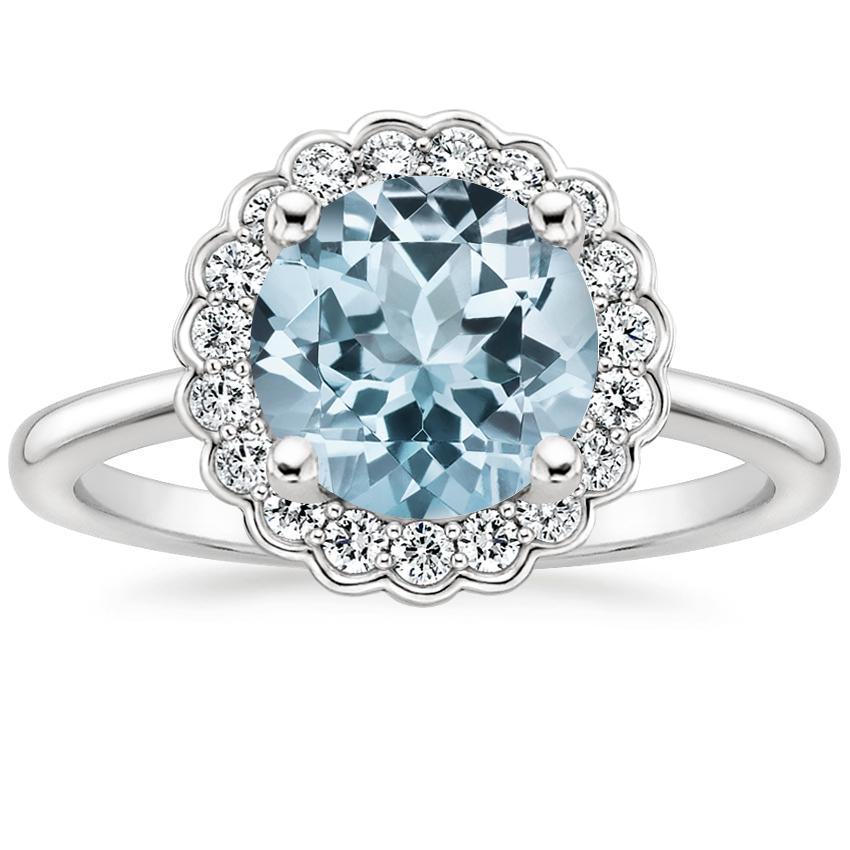 Aquamarine Violette Diamond Ring in 18K White Gold