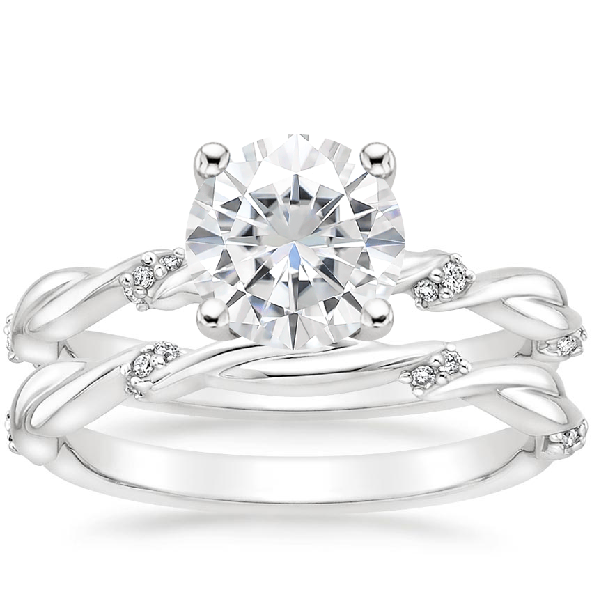 18KW Moissanite Cleo Diamond Bridal Set, top view