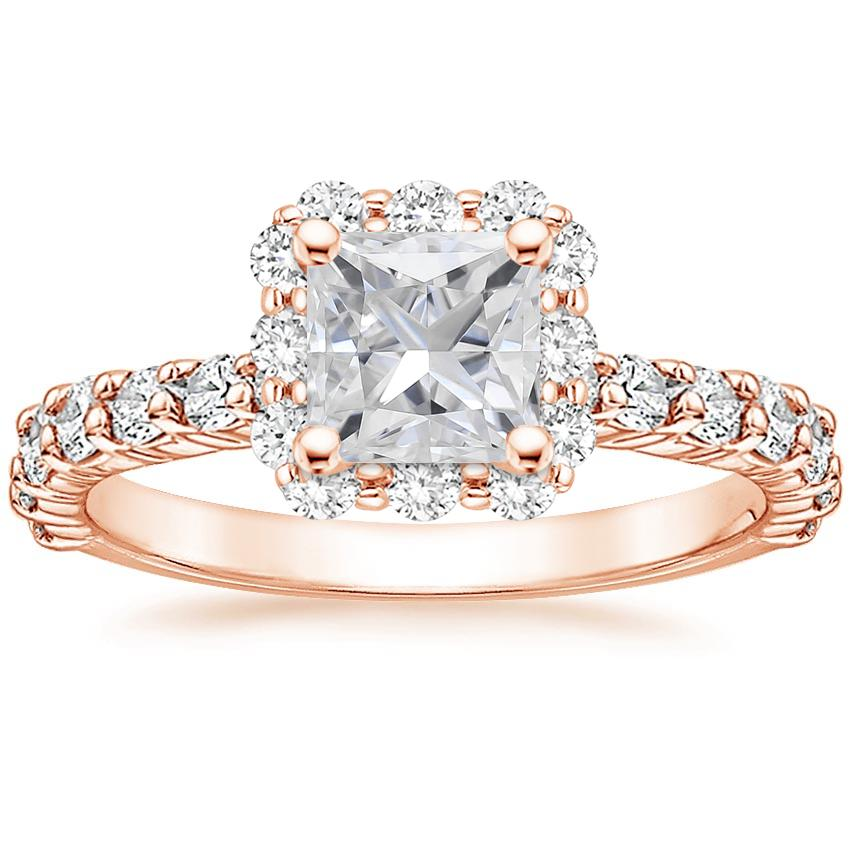 Rose Gold Moissanite Lotus Flower Diamond Ring with Side Stones (3/4 ct. tw.)