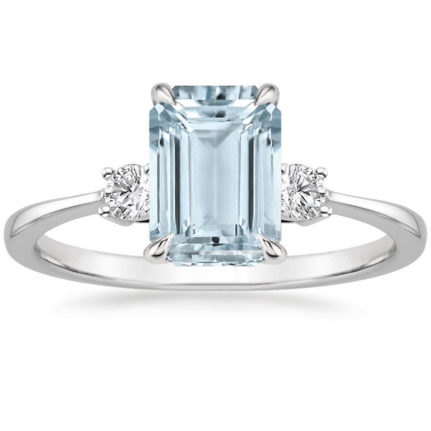 Aquamarine Selene Diamond Ring in 18K White Gold