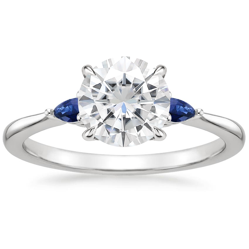 Moissanite Aria Ring with Sapphire Accents in Platinum