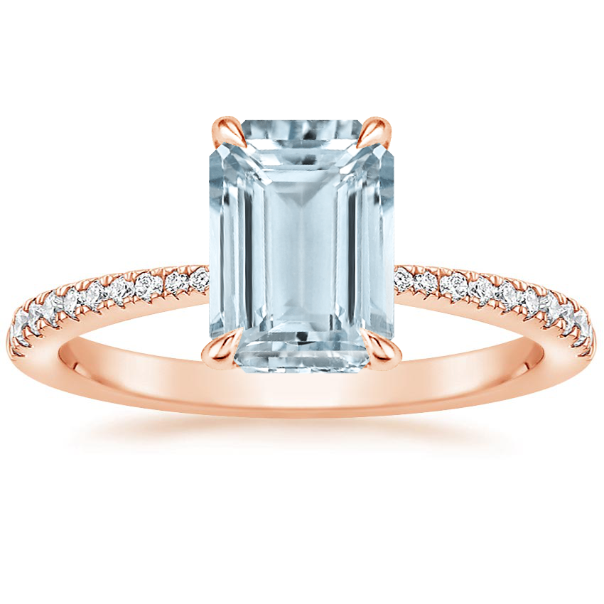 Rose Gold Aquamarine Elena Diamond Ring