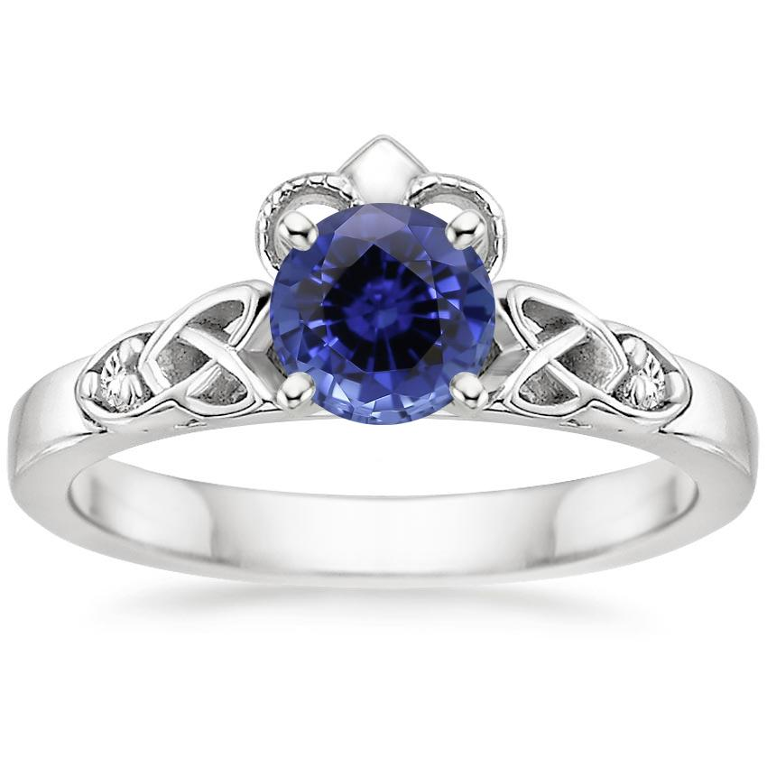 Sapphire Celtic Claddagh Diamond Ring in 18K White Gold