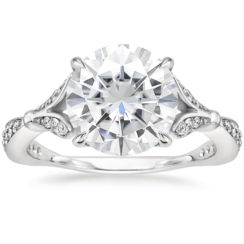 Moissanite Zinnia Diamond Ring (1/3 ct. tw.) in 18K White Gold