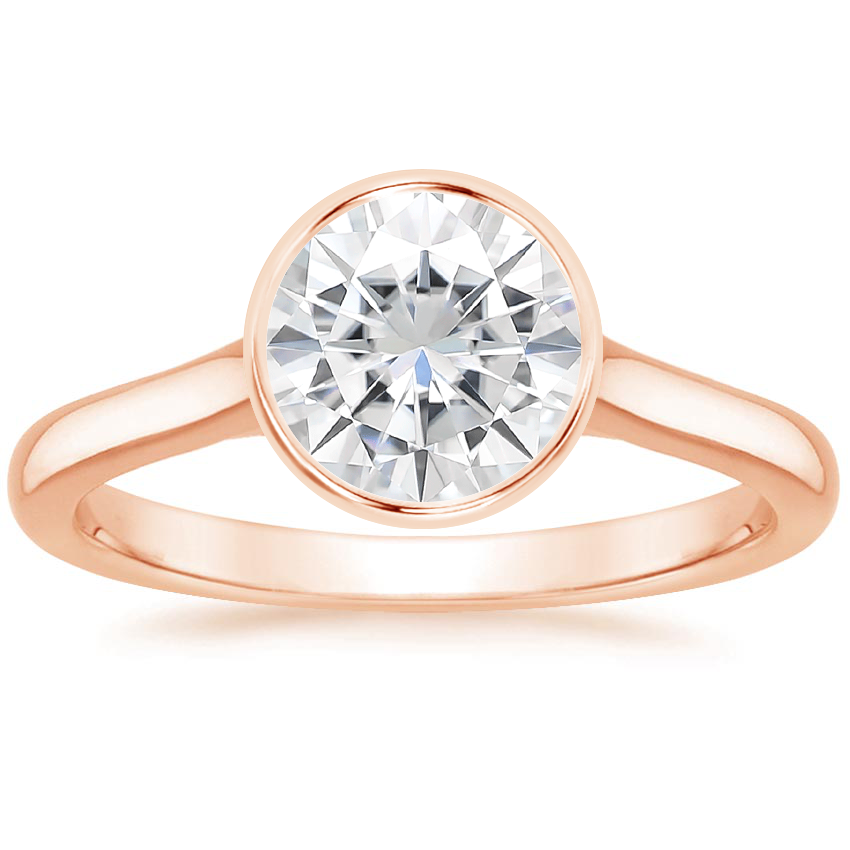 Rose Gold Moissanite Luna Ring