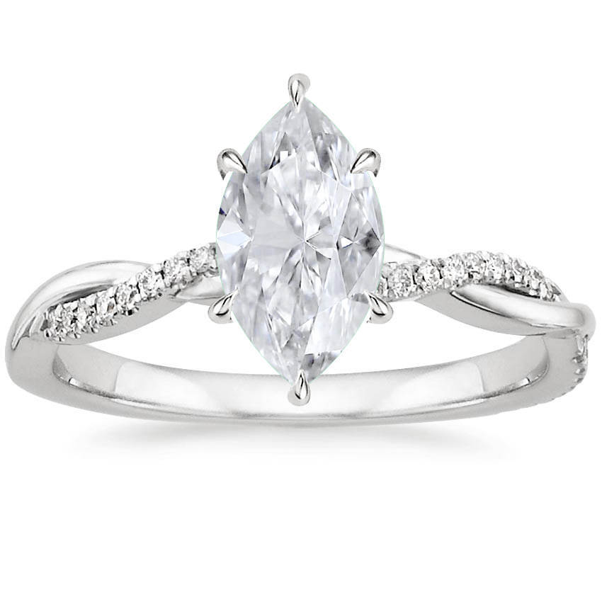 Moissanite Petite Twisted Vine Diamond Ring (1/8 ct. tw.) in Platinum