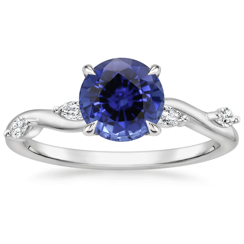 Sapphire Winding Willow Diamond Ring in 18K White Gold