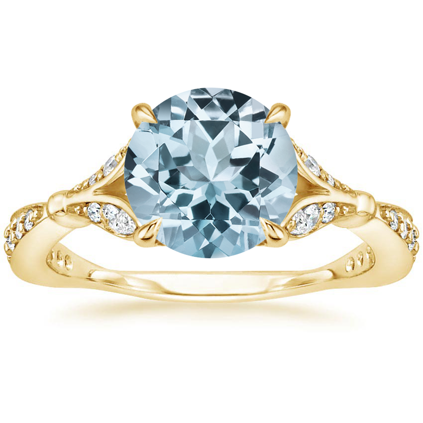 Yellow Gold Aquamarine Zinnia Diamond Ring (1/3 ct. tw.)