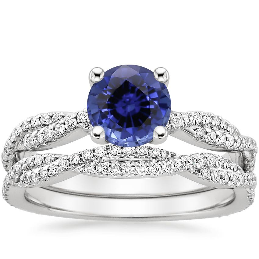 PT Sapphire Petite Luxe Twisted Vine Bridal Set (1/2 ct. tw.), top view