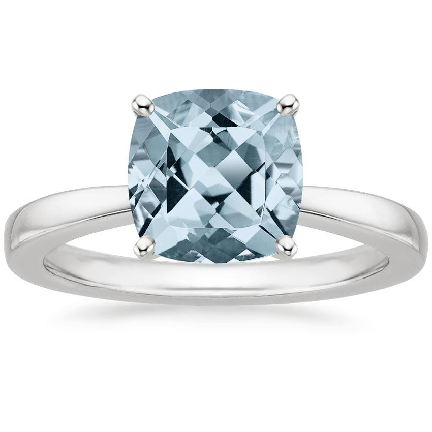 Aquamarine Petite Taper Ring in Platinum