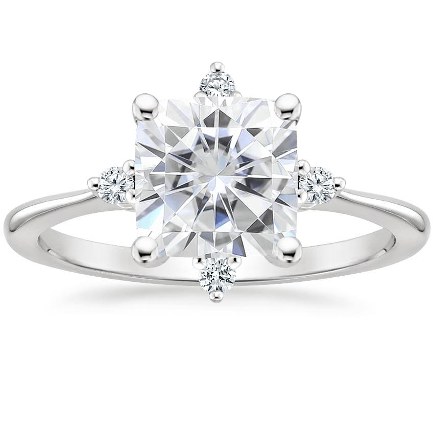 Moissanite Luminesce Diamond Ring in 18K White Gold